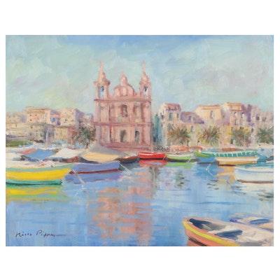 "Nino Pippa Oil Painting ""Malta - Fishing Village,"" 2017"