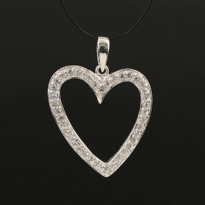Sterling Zircon Lined Heart Pendant