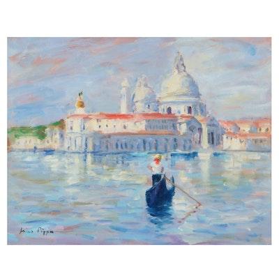"Nino Pippa Oil Painting ""Santa Maria Della Salute,"" 2015"