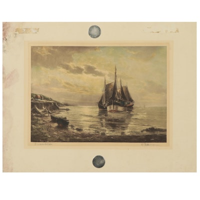 """Hand-Colored Lithograph """"Fischerboote,"""" Mid to Late 20th Century"""