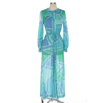 Emilio Pucci For Formfit Rogers Multicolor Print Raglan Sleeve Belted Dress Robe