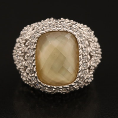 Judith Ripka Sterling Quartz and Mother of Pearl Doublet Ring