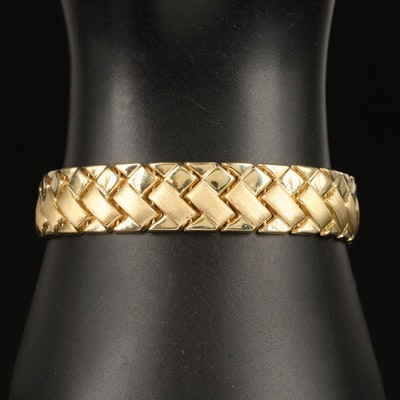 14K Basket Weave Motif Link Bracelet