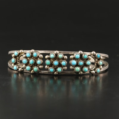 Western Sterling Turquoise Cluster Openwork Cuff