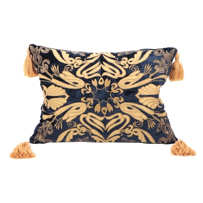 Baroque Print Embroidered and Appliquéd Down Filled Throw Pillow