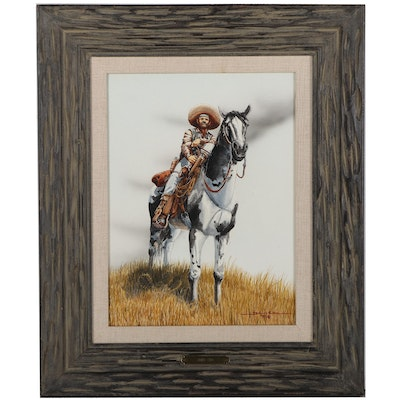 """John Cox Watercolor Painting """"Watchful Hombre,"""" 1975"""