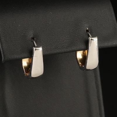 14K Two-Tone Gold Reversible Hoop Earrings