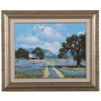 William Slaughter Landscape Oil Painting of Bluebonnet Field, Late 20th Century