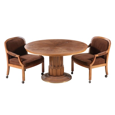Flair Walnut Table and Two Arm Chairs on Casters, Mid to Late 20th Century