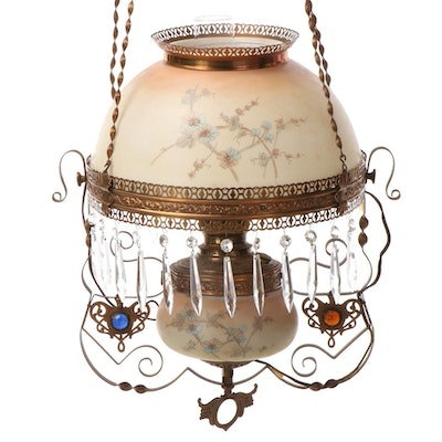 Charles Parker Co. Converted Oil Lamp Hanging Pendant, Late 19th Century