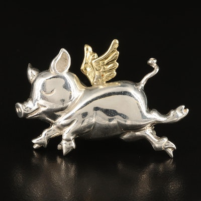 Pazia Sterling Flying Pig Brooch with 18K Accents