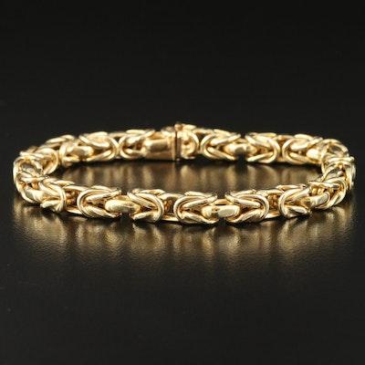Italian 14K Gold Byzantine Chain Bracelet