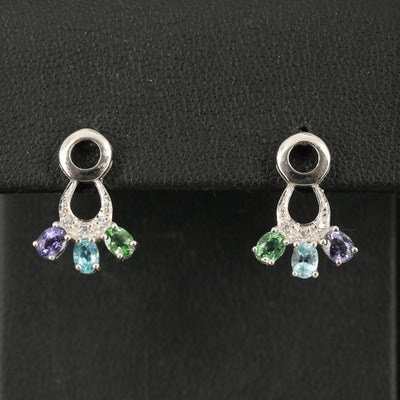 Sterling Tourmaline, Apatite and Sapphire Earrings
