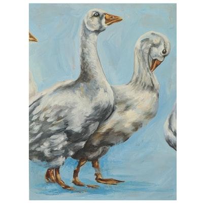 Elena Olkhovskaya Oil Painting of Geese, 2021
