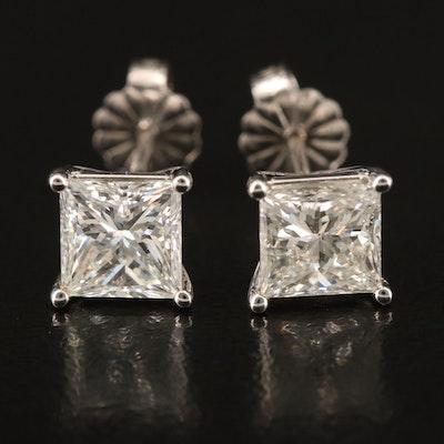 14K 2.42 CTW Diamond Stud Earrings with GIA Report