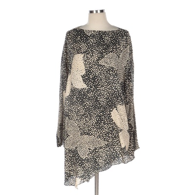 Hanae Mori Boutique Asymmetrical Blouse in Black-Beige Butterfly Abstract Print