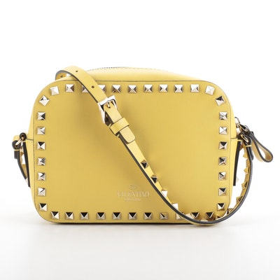 Valentino Rockstud Yellow Leather Camera Crossbody