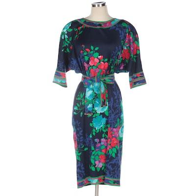 Leonard Studio Floral Batwing Sleeve Dress from Bergdorf Goodman