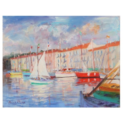 "Nino Pippa Oil Painting ""French Riviera - Saint Tropez Harbor,"" 2017"