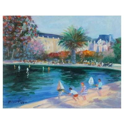 """Nino Pippa Oil Painting """"Paris - Tuileries Gardens,"""" 2018"""