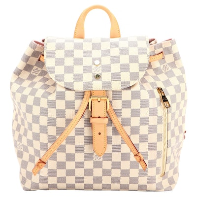 Louis Vuitton Sperone Backpack in Damier Azur Canvas with Vachetta Leather