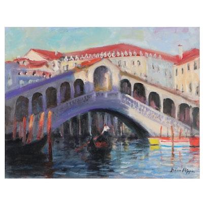 "Nino Pippa Oil Painting ""Venice - Light and Shade on the Rialto,"" 2018"