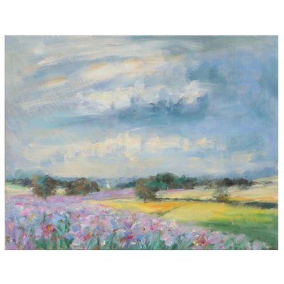 """Nino Pippa Oil Painting """"Provence - The Lily Field in the Rhone Valley,"""" 2017"""