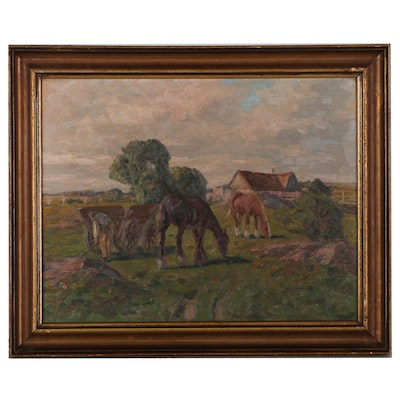 Oil Painting of Grazing Horses, Early 20th Century