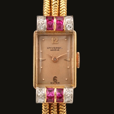 18K Universal Geneve Diamond and Ruby Wristwatch