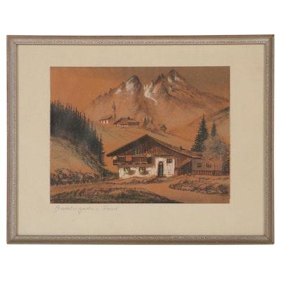 "Pastel Drawing Attributed to Albert Richter ""Berchtesgadener Land"""