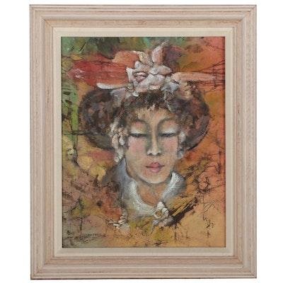Emy Ledbetter Spiritualist Acrylic Portrait, Late 20th Century
