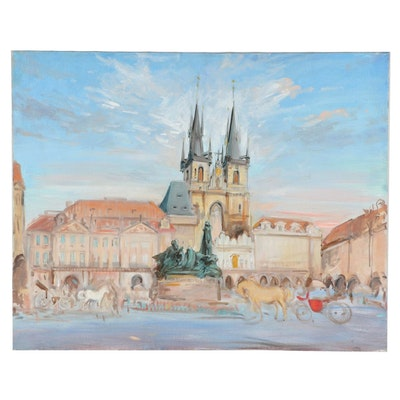 Kamil Kubik Cityscape Oil Painting of Old Town Square in Prague