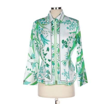 Averardo Bessi Floral Print Cotton Zipper-Front Shirt