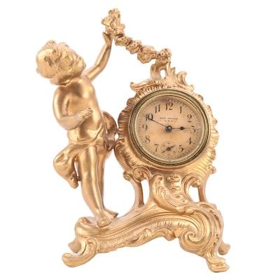 Art Nouveau New Haven Clock Company Gilt Cast Metal Cherub Mantel Clock