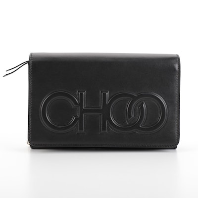 Jimmy Choo Sonia Black Leather Wallet on Chain