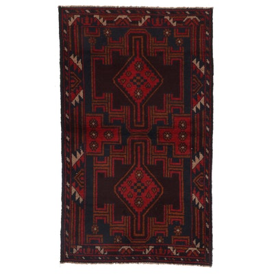 2'10 x 4'9 Hand-Knotted Afghan Baluch Accent Rug