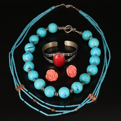 Magnesite and Quartzite Jewelry Featuring Betsey Johnson and Sterling
