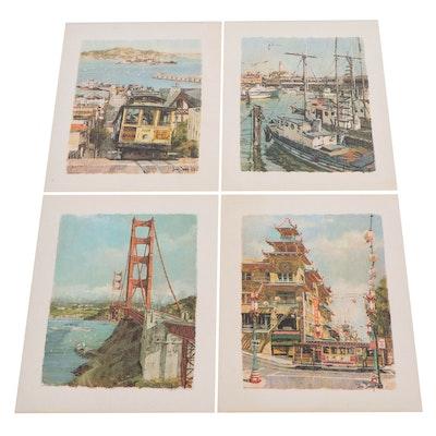 Offset Lithographs After Don Davey of San Francisco Landscapes