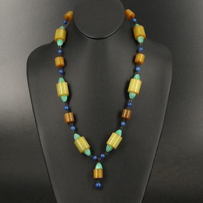 Art Deco Bakelite and Peking Glass Necklace