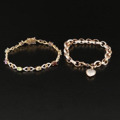 Sterling Silver Amethyst, Garnet and Diamond Bracelets
