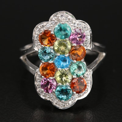 Sterling Cluster Ring with Apaptite, Zircon and Garnet