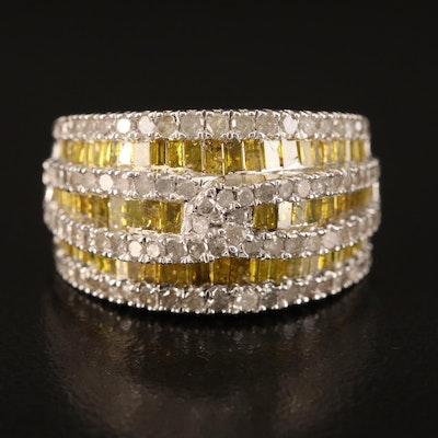 Sterling 2.00 CTW Diamond Multi-Row Ring