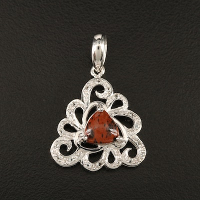 Sterling Mahogany Obsidian and Topaz Scrollwork Pendant