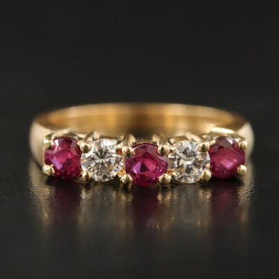 14K Diamond and Ruby Five Stone Ring