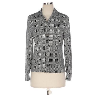 Courrèges Op Art Button-Front Knit Shirt