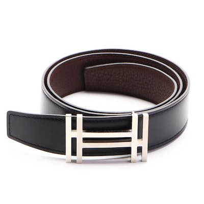 Hermès Reversible H Au Carre Belt in Smooth and Grained Leather
