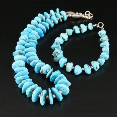 Sterling Silver Stabilized Turquoise Bracelet and Necklace