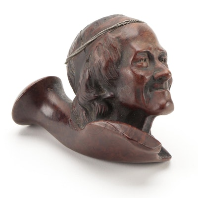 Hand-Carved Old Man's Head Briar Wood Tobacco Pipe Bowl