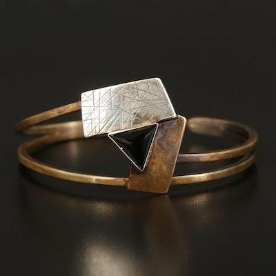 Artisan Signed Sterling Triangular Openwork Cuff