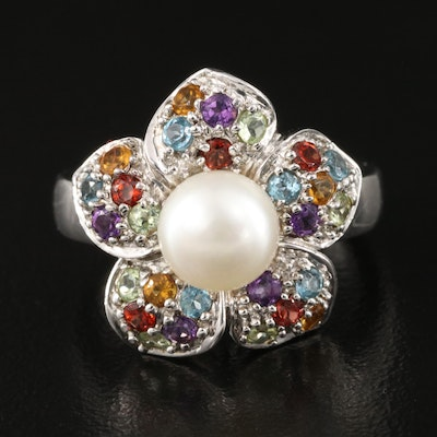 Sterling Silver Pearl, Amethyst and Topaz Flower Ring
